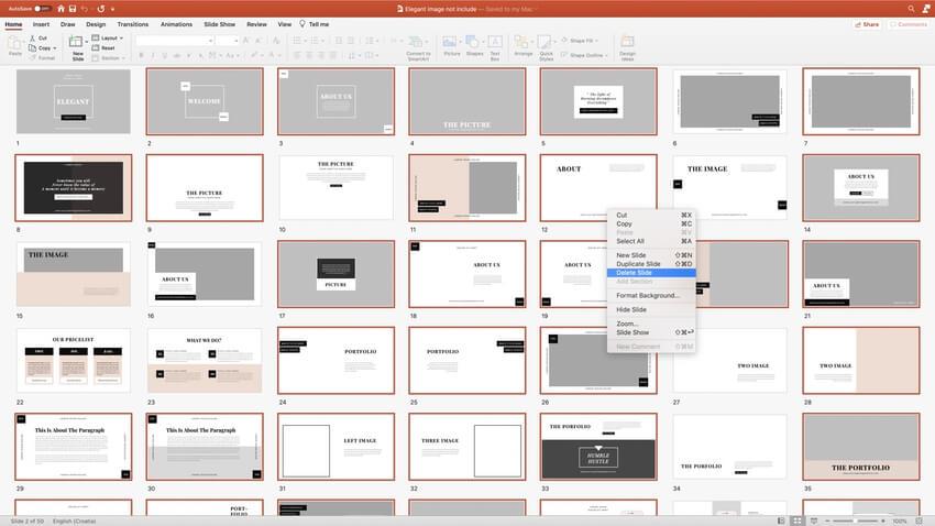 Choosing slides in PowerPoint