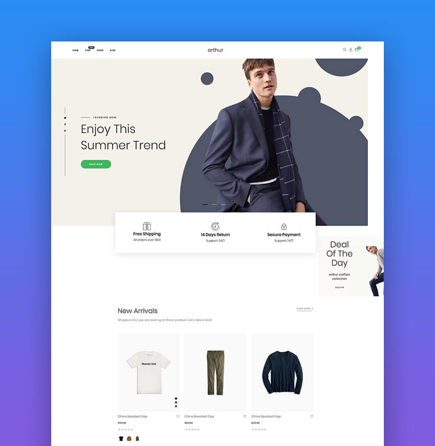 Arthur  Minimal Clean  Beautiful Dropshipping Shopify Theme