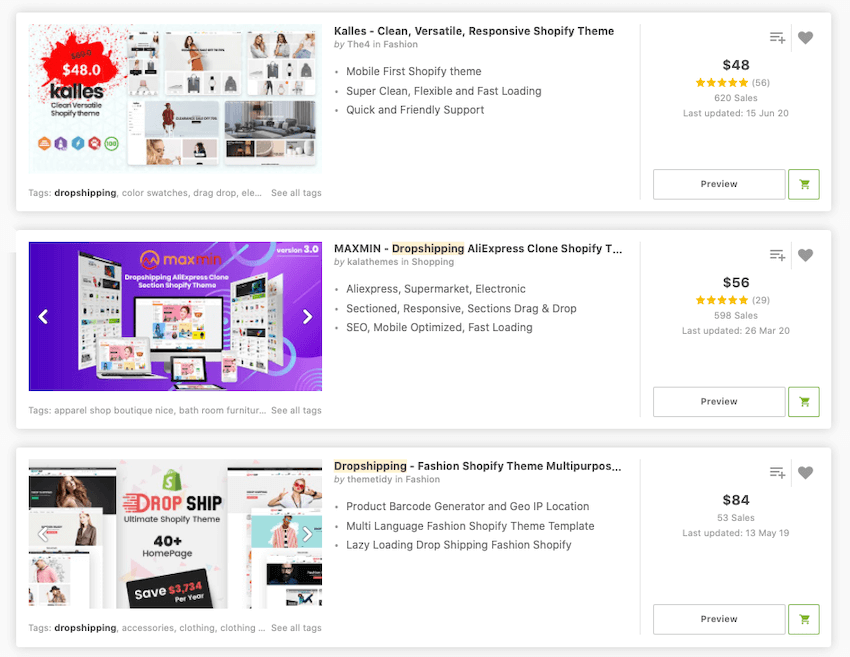 Dropshipping themes on ThemeForest