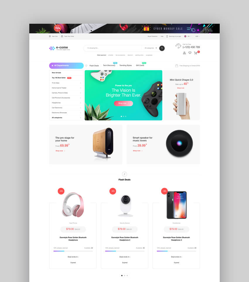 E-come  Multi-Purpose Shopify Theme for Electronics Store