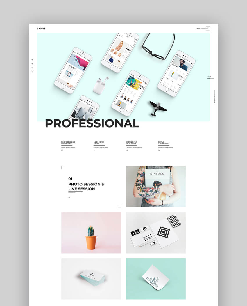 Bjorn - Creative Agency  Freelancer Portfolio WordPressTheme
