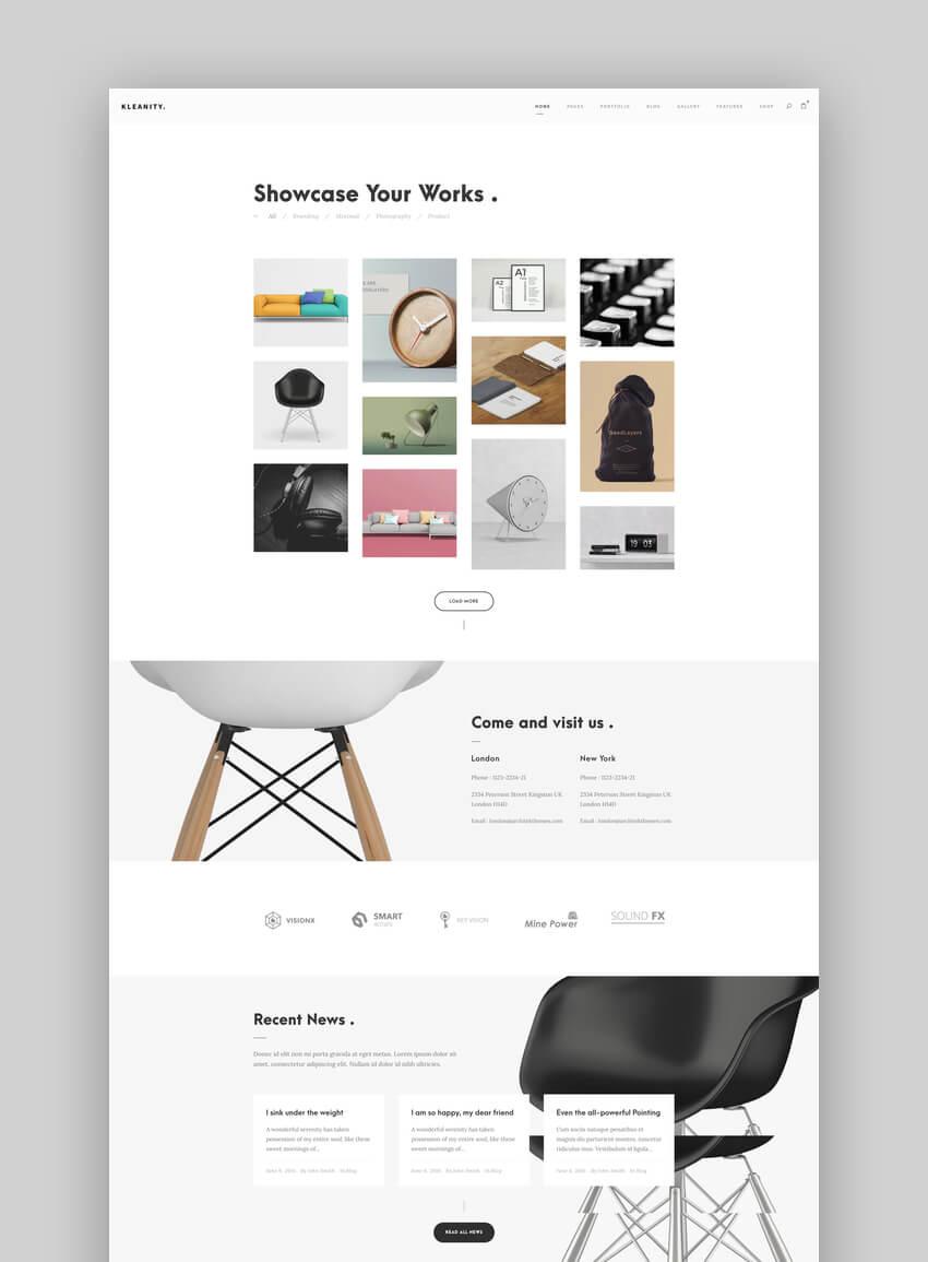 Kleanity - Minimalist Graphic Design Portfolio WordPress Theme