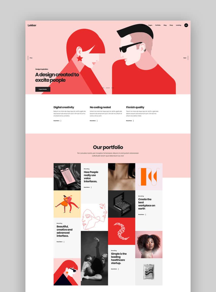 Lekker - Graphic Design Portfolio WordPress Theme