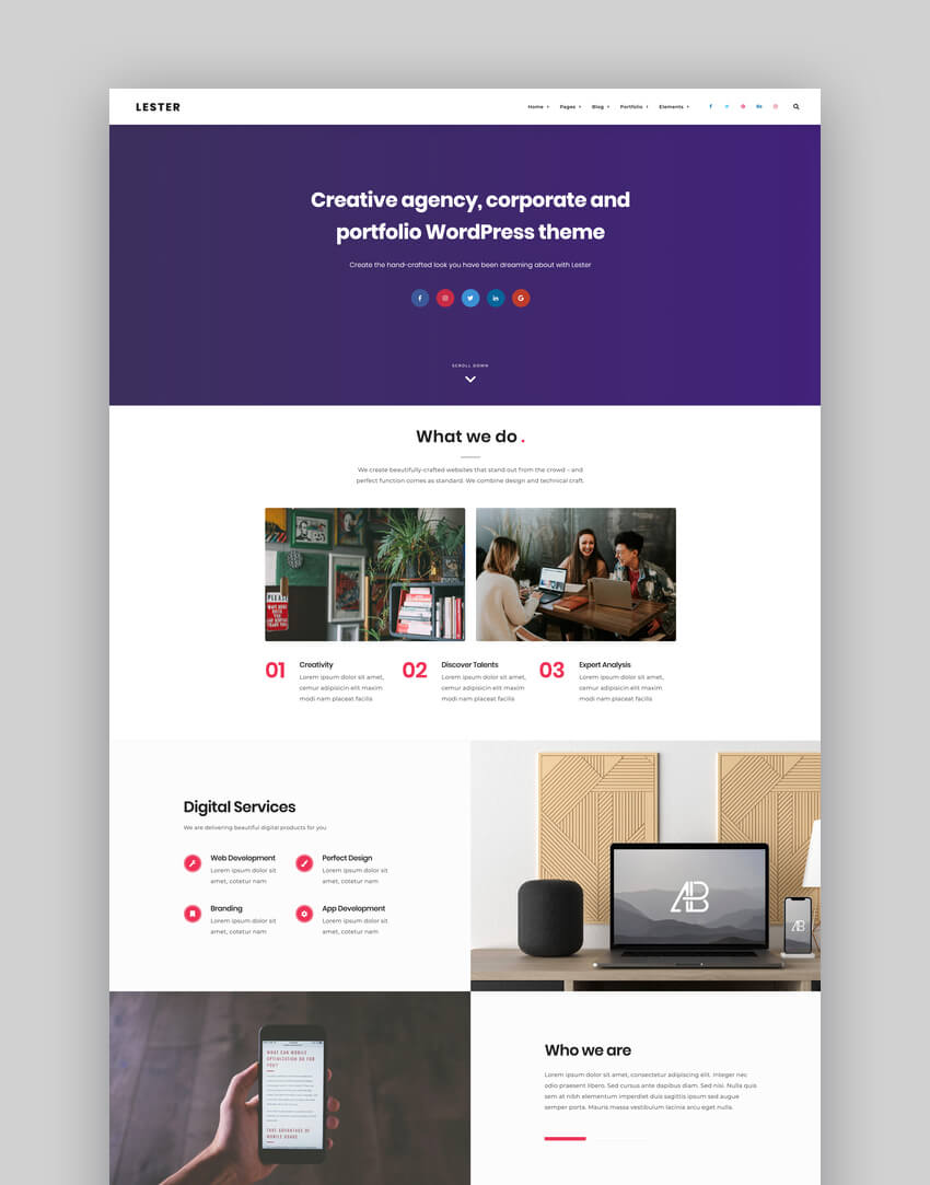 Lester - Creative Graphic Designer Portfolio WordPress Theme