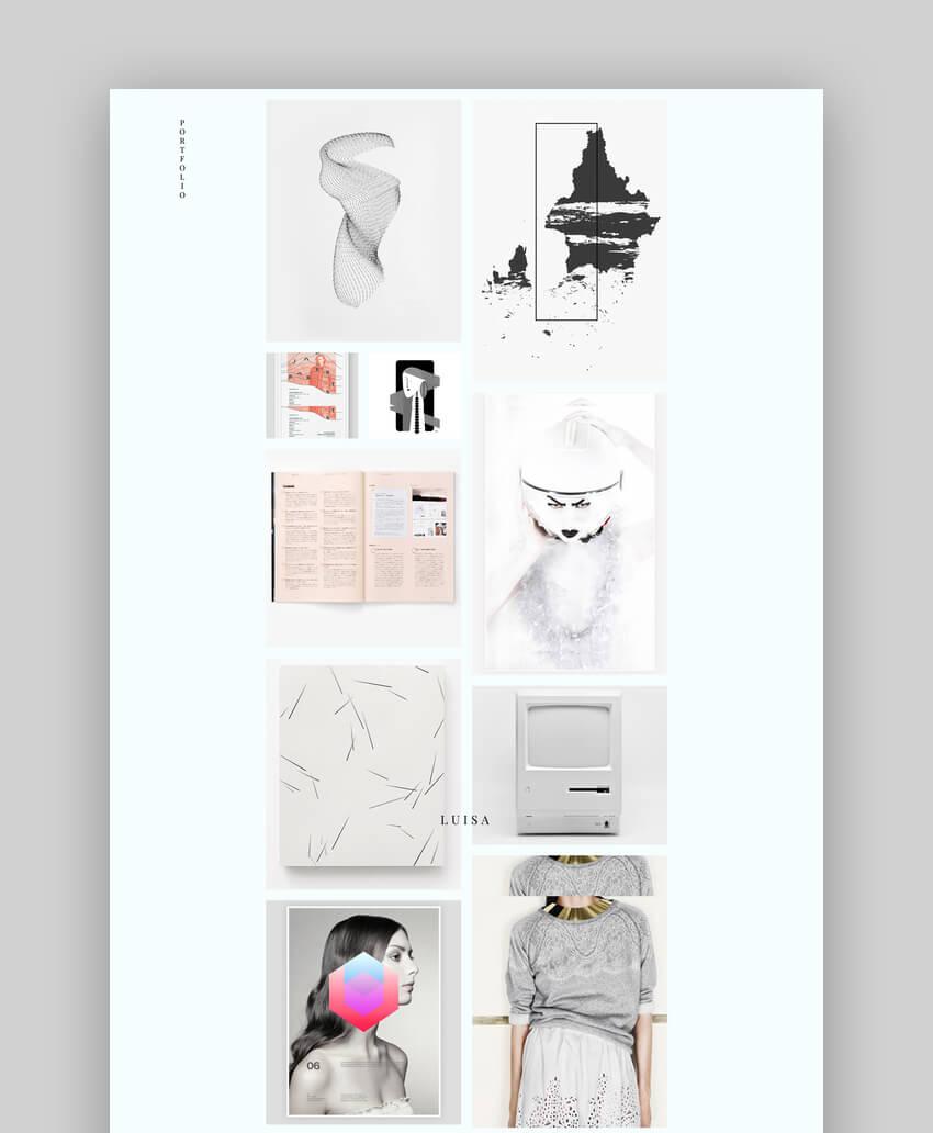 LUISA - Minimalist Graphic Design Portfolio  Blogging WordPress Theme