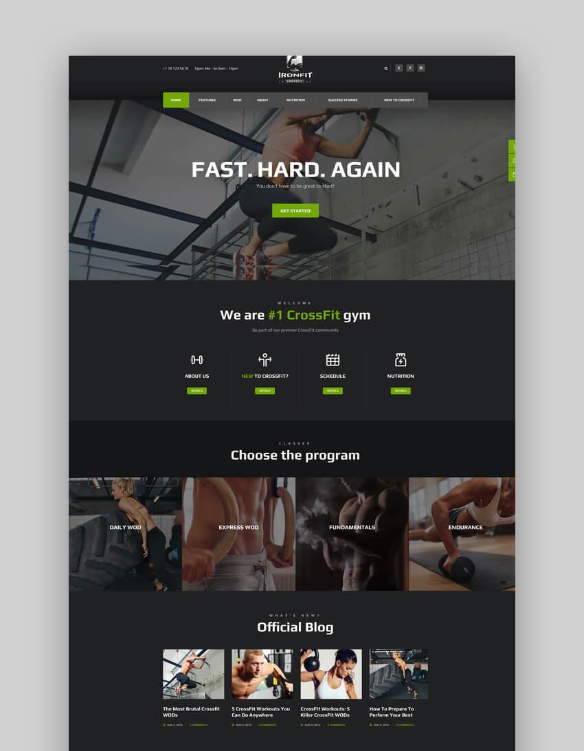 Ironfit - Fitness Gym and CrossFit WordPress Theme