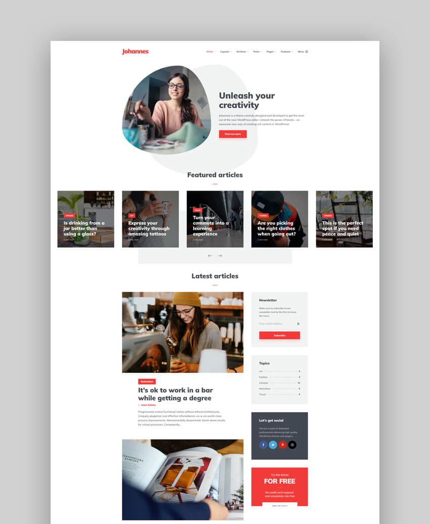 Johannes - Personal Family Blog Theme for WordPress