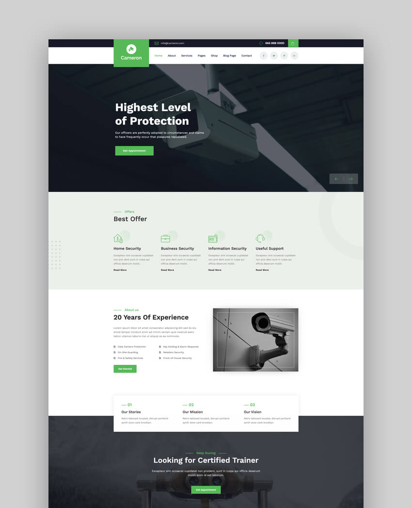 Cameron - Home Automation  Security WordPress Theme