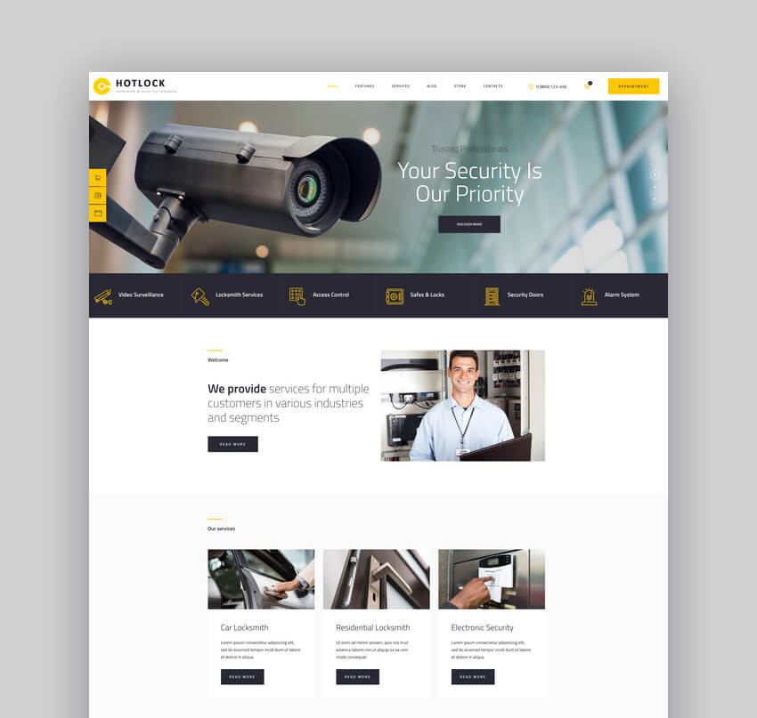 HotLock  Locksmith  Security Systems WordPress Theme