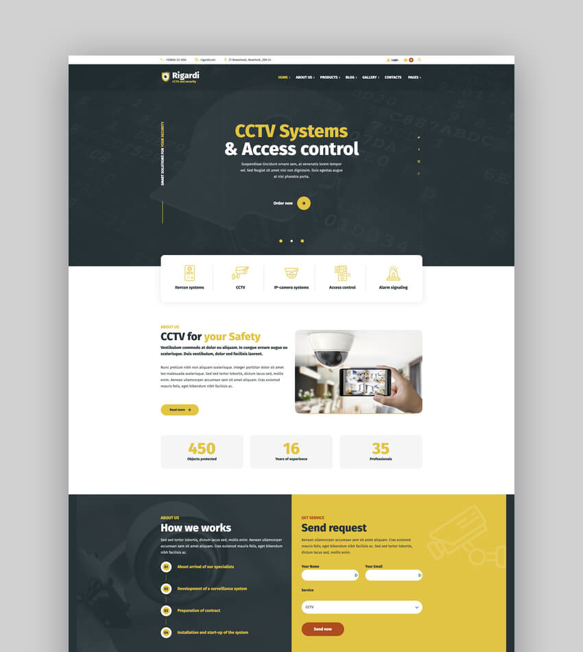 Rigardi - CCTV Security Company  Body Guard WordPress Theme