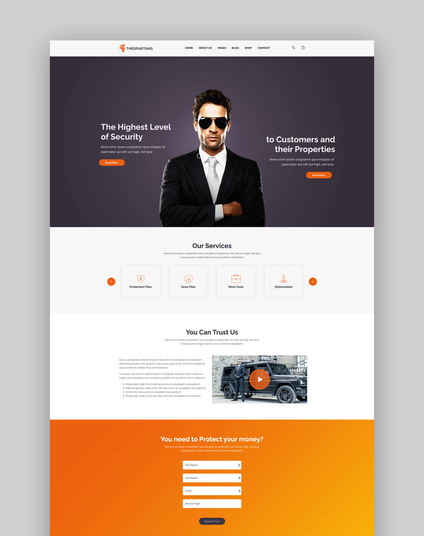 TheSpartans - MultiPurpose Guardian  Protection WordPress Theme