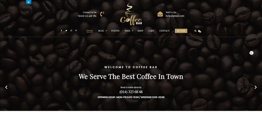 Cafe Coffee Shop - WordPress theme