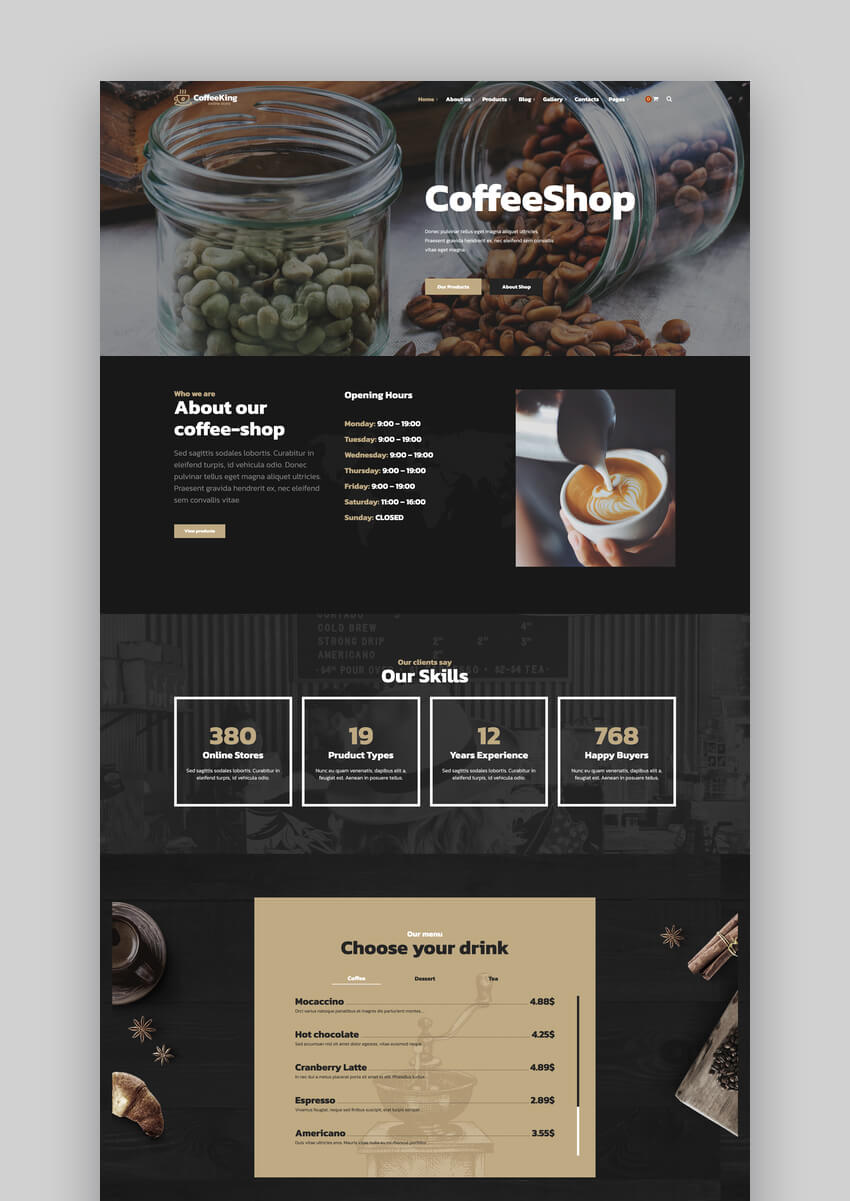 CoffeeKing - Coffee Shop  Drinks Online Store WordPress Theme
