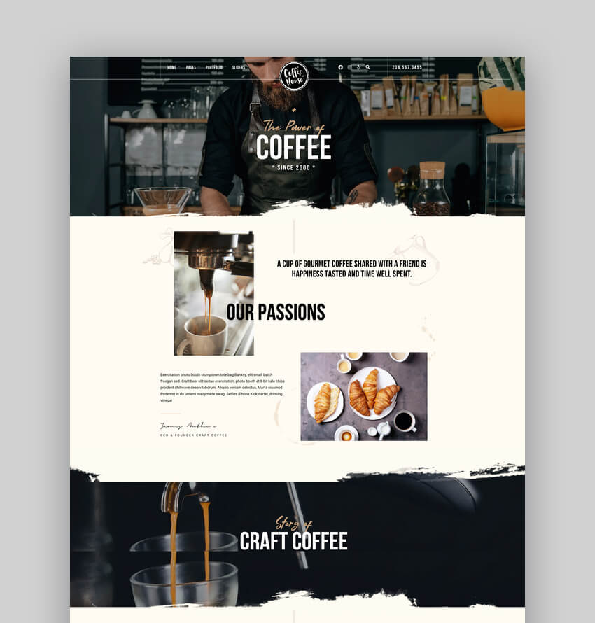 Craft  Coffee Shop Cafe Restaurant WordPress
