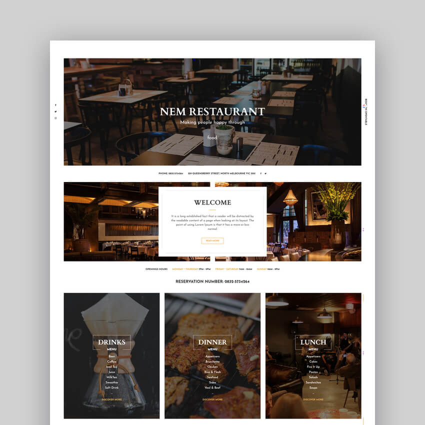 Restaurant WordPress Theme  NEM