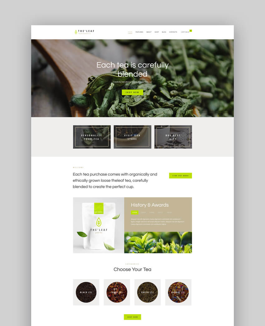 TheLeaf - Tea Production Company  Online Coffee Shop WordPress Theme