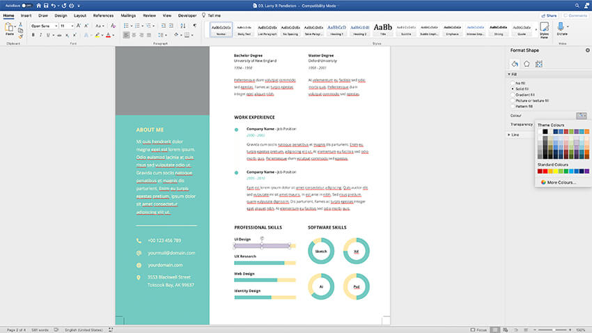 Customizing colors in the CV Resume template