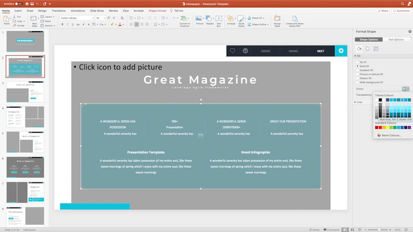 Changing colors in the PPT template