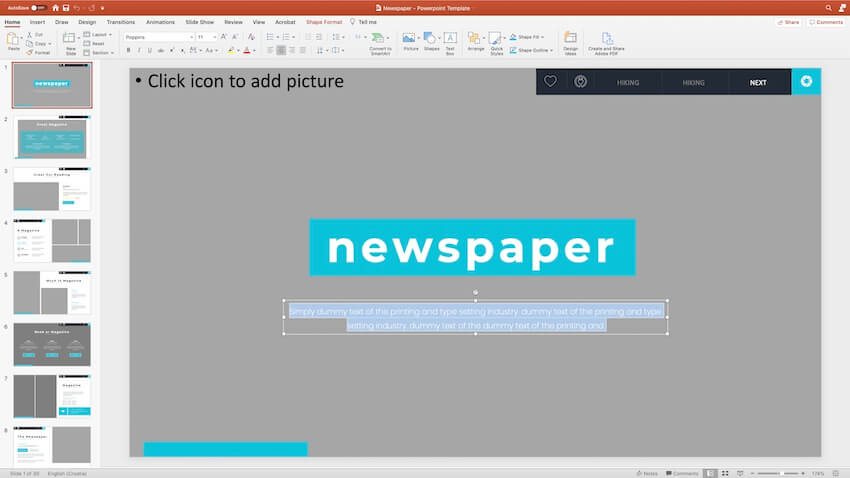 Replacing content in the PPT template