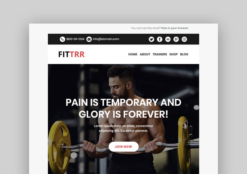 Fittrr - Responsive Mailchimp Template
