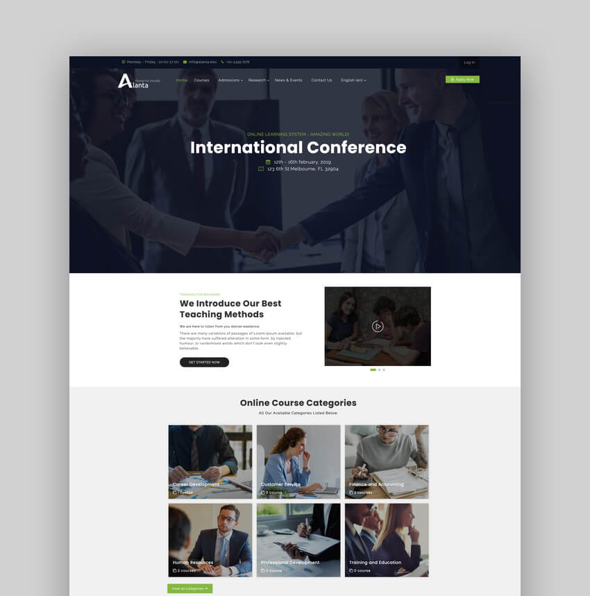 Alanta - Responsive University Website Moodle Theme