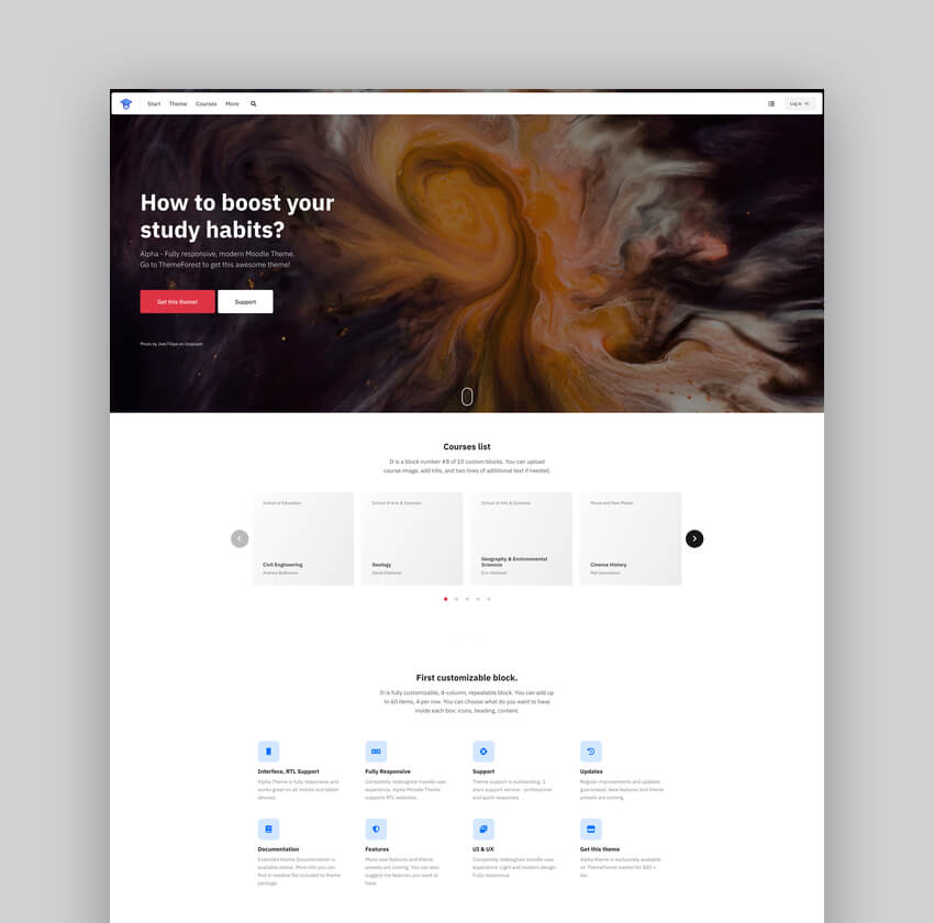 Alpha  - Responsive University Website Theme for Moodle