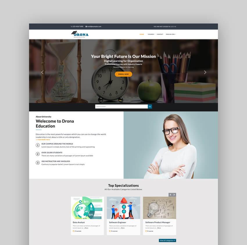 Drona - Multipurpose Moodle University Website Theme