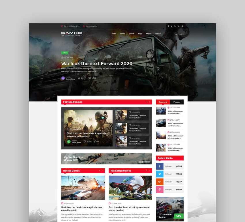 Gamxo - Games News Gaming Web HTML5 Template