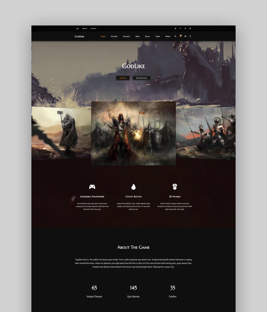Godlike  The Game Website Template