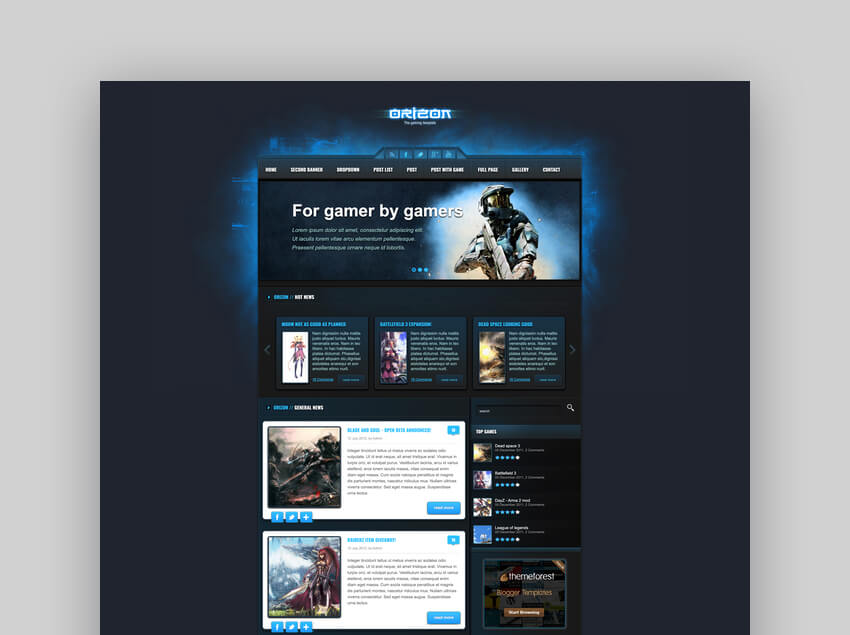Orizon - The Gaming Template HTML version
