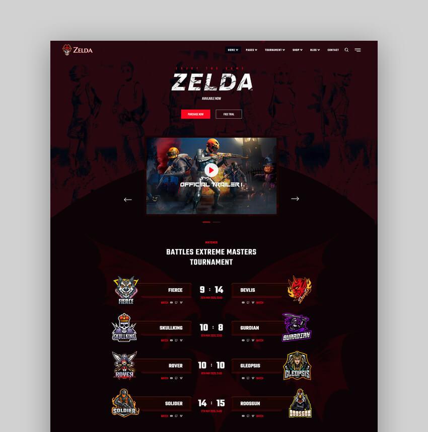 Zelda - eSports  Gaming Web Template