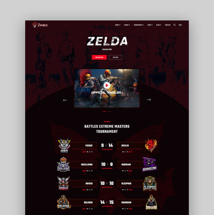 Zinble - eSports  Gaming Web Template