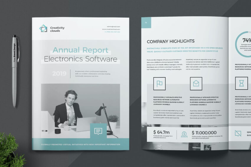 Annual Report With Icons