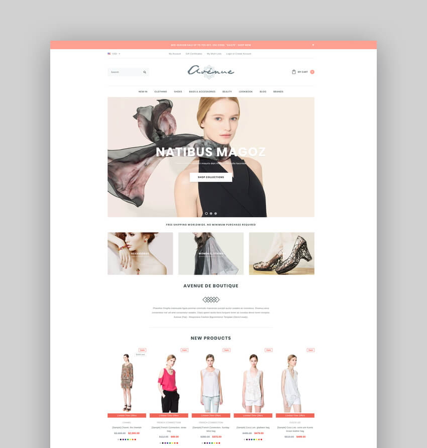 Avenue - Responsive Fashion BigCommerce Template Stencil  Google AMP Ready
