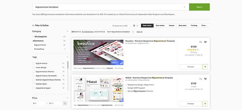 BigCommerce templates on ThemeForest