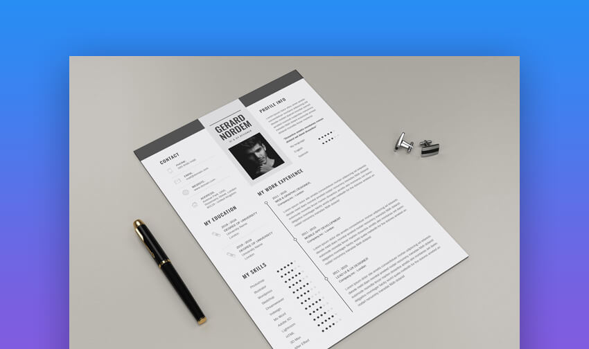 Resume  Elegant One Page Resume Template