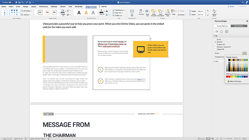 Customizing colors in the annual report template
