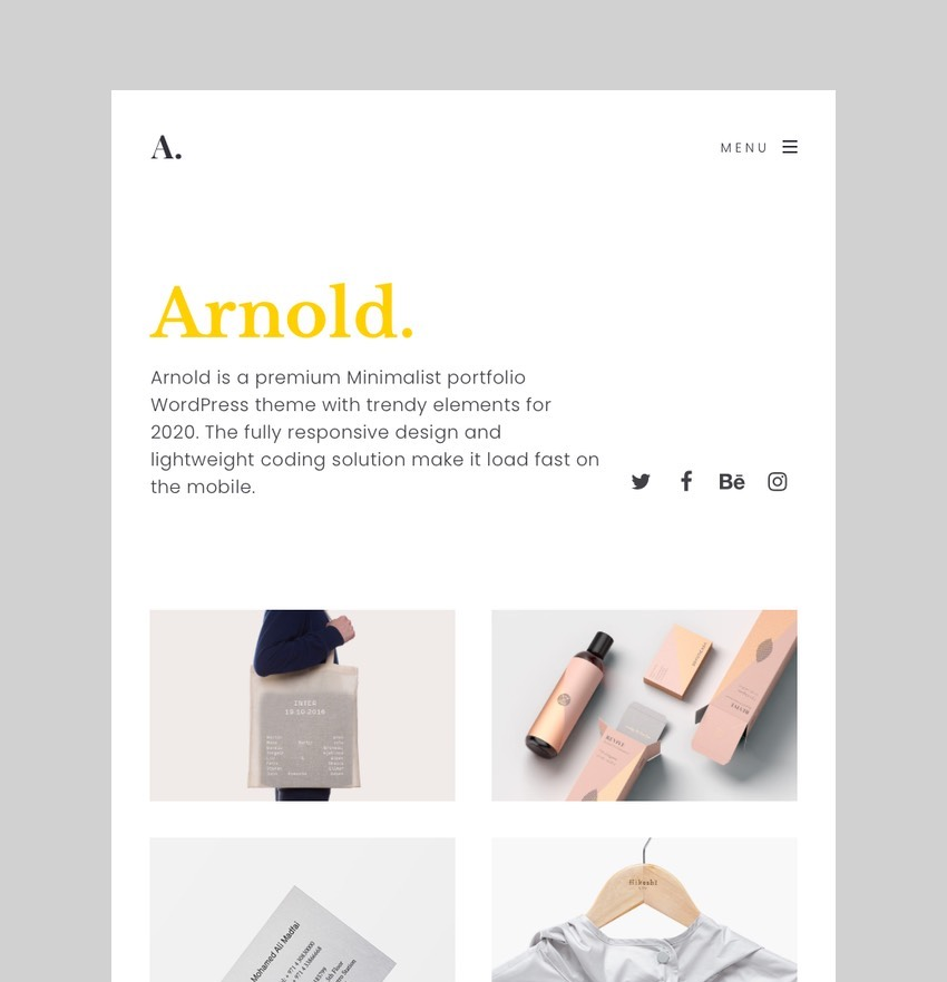 Arnold - Minimal Portfolio WordPress Theme