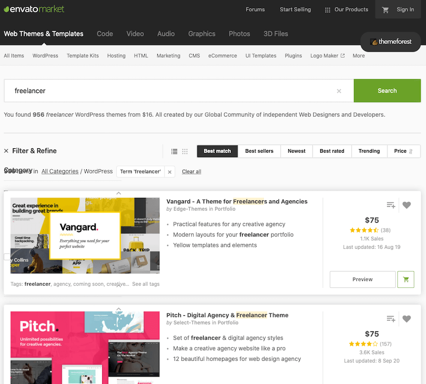Freelance WordPress themes on ThemeForest