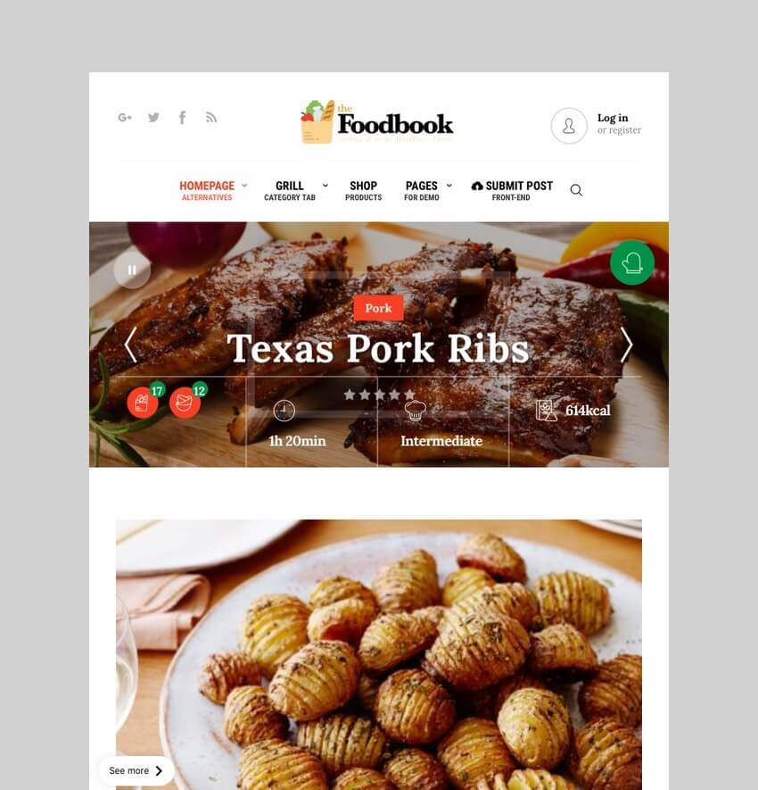 Foodbook - Recipe Community WordPress Theme