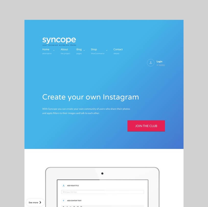 Syncope - Photo Sharing Community WordPress Theme