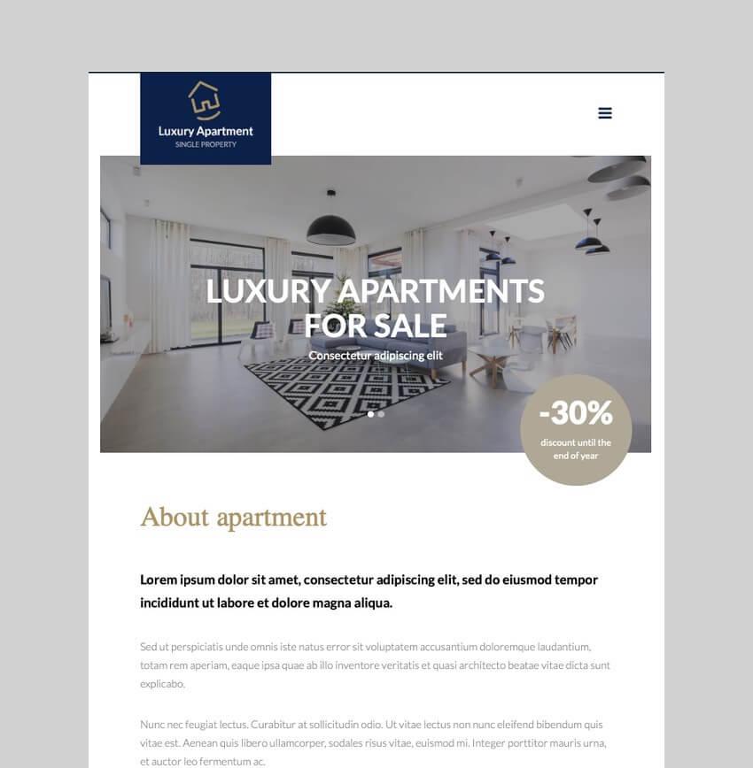 Luxury Apartment - Single Property Theme