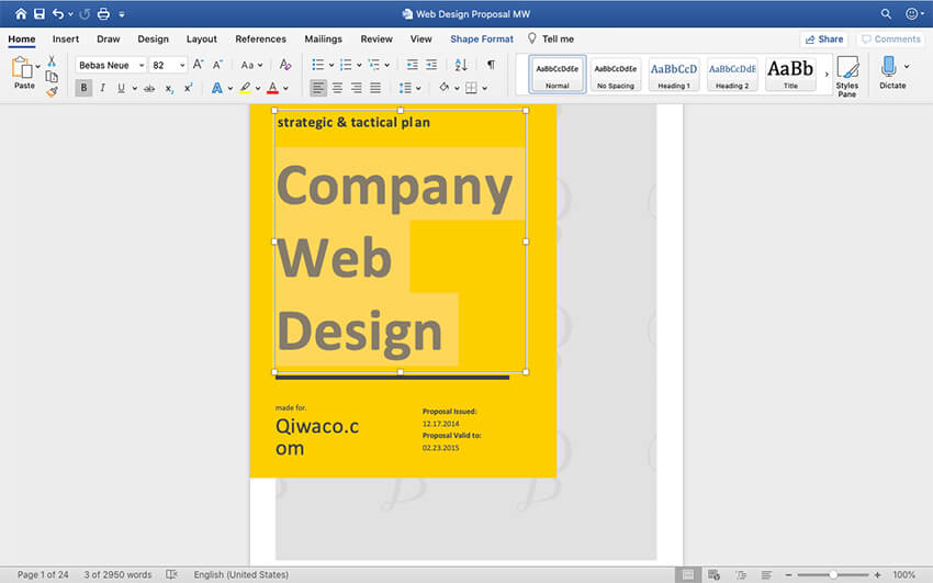 Customizing the cover of the Web Design Proposal template