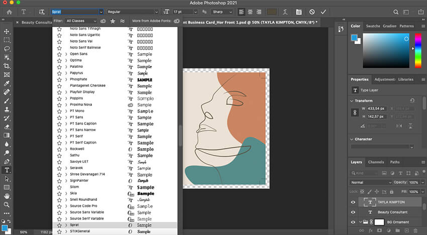 Customizing fonts in the Business Card template