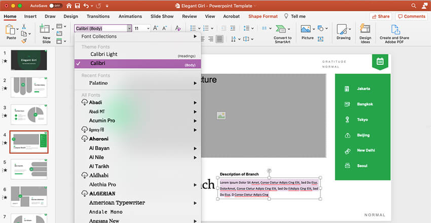 Changing the body font in your PowerPoint template