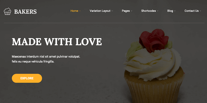 Bakers Lite delivery WordPress theme