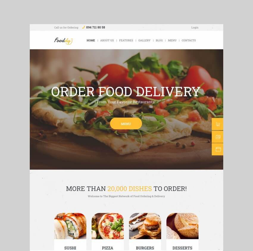 Fooddy 24/7 food ordering theme