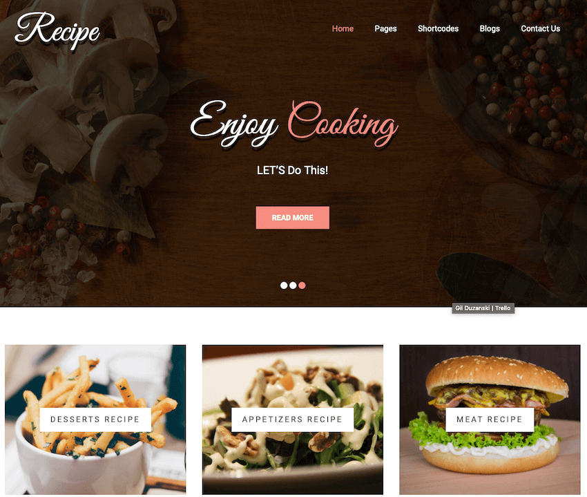 Recipe lite free delivery WordPress theme
