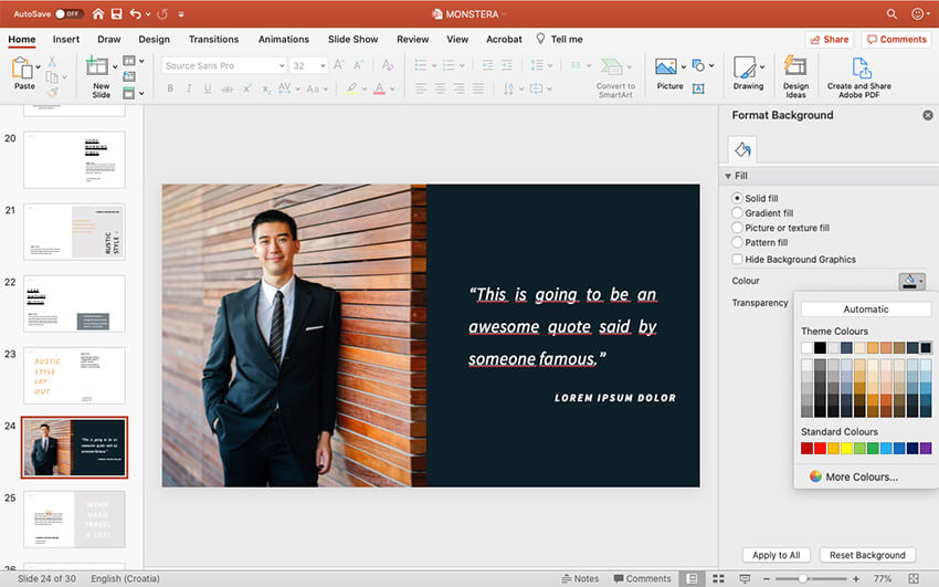 Customize the background color in your slide