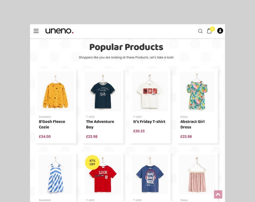 Uneno Kids Clothing WordPress Theme
